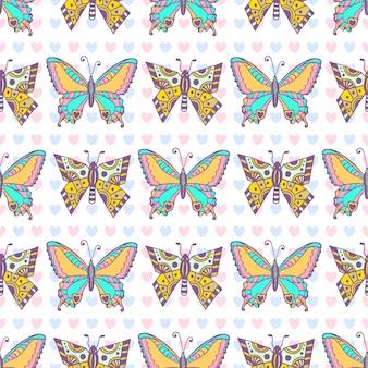 Padrão de borboletas. impressão sem costura desenhada a mão. pode ser usado para embalagens, embalagens e design têxtil
