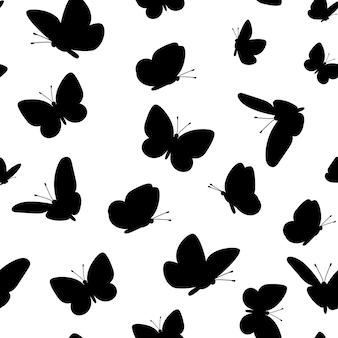 Padrão de borboletas pretas. padrão sem emenda de borboleta fofa