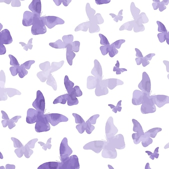 Padrão de borboletas roxas aquarela sem emenda