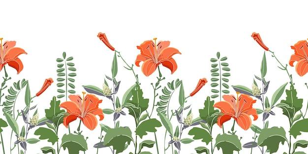 Padrão de borda floral sem costura