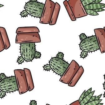 Padrão de borda sem emenda de plantas de cacto em vasos de hygge. aconchegante lagom estilo escandinavo rabiscos suculentos, vista de cima, fundo, azulejo