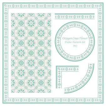 Padrão de borda vintage de flor cruzada octogonal oriental