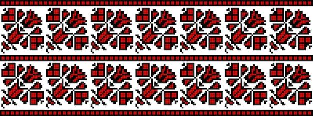 Padrão de bordado de malha de arte folclórica romena tradicional