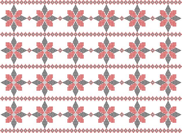 Padrão de bordado de malha de arte popular romeno tradicional