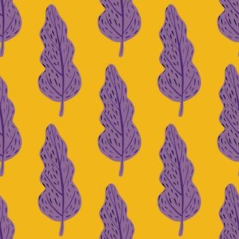 Padrão de brilhante sem costura decorativo dos desenhos animados com formas de árvore roxas. fundo amarelo.