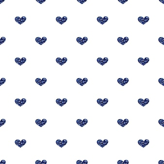 Padrão de brilho de coração azul sem costura no fundo branco