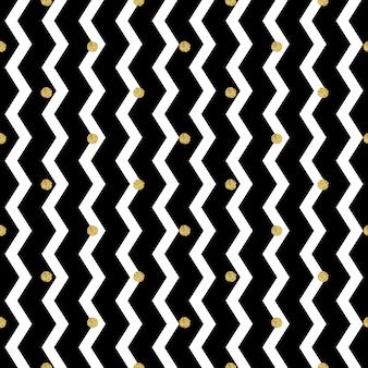 Padrão de brilho de ponto dourado transparente em fundo ziguezague
