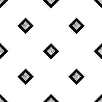 Padrão de brilho quadrado preto e prata sem costura no fundo branco Vetor Premium
