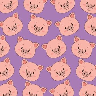 Padrão de cabeças de porco bonito e pequeno