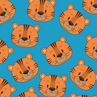 Padrão de cabeças de tigre bonito e pequeno