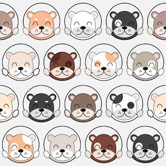 Padrão de cães bonitos, papel de parede sem costura de cães diferentes. vetor eps 10.