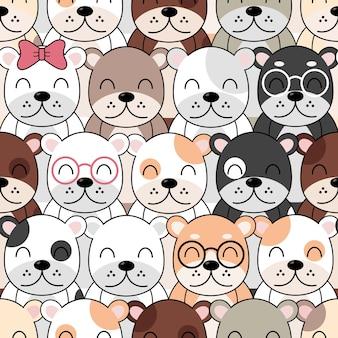 Padrão de cães bonitos, papel de parede sem costura de cães diferentes.
