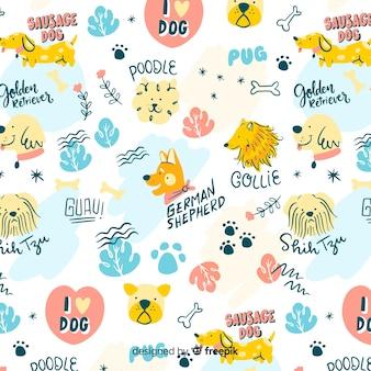 Padrão de cães e palavras de doodle colorido