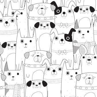Padrão de cães sem costura