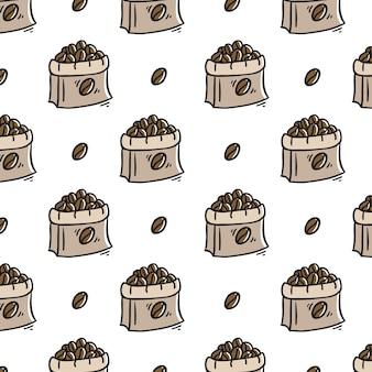 Padrão de café sem costura desenhada de mão