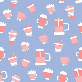 Padrão de café sem emenda de vetor no estilo doodle e cartoon