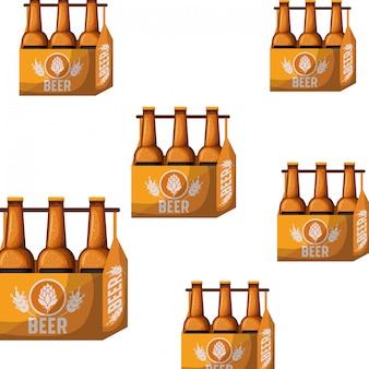 Padrão de caixa com ícone isolado de garrafas de cerveja