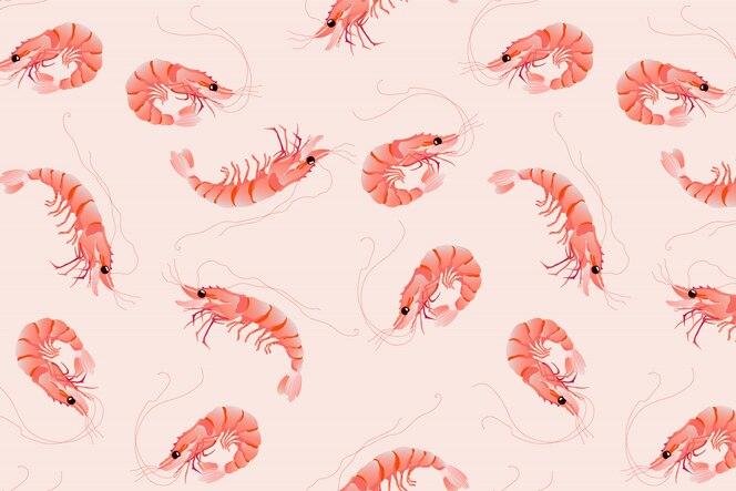 Padrão de camarão rosa. design de padrão de vetor desenhados à mão sem emenda.