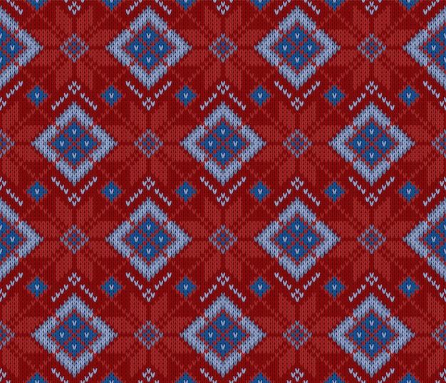 Padrão de camisola escandinavo de malha sem costura de lã