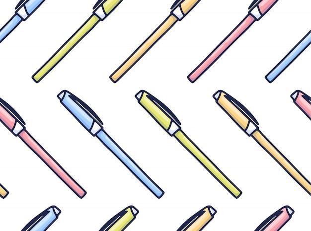 Padrão de canetas coloridas em estilo cartoon.