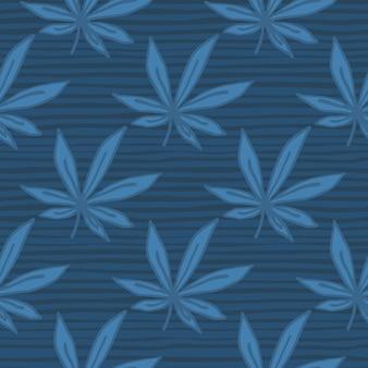 Padrão de cannabis doodle sem costura simples. folhas e fundo com tiras na paleta azul marinho.