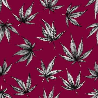 Padrão de cannabis preta sobre fundo vermelho