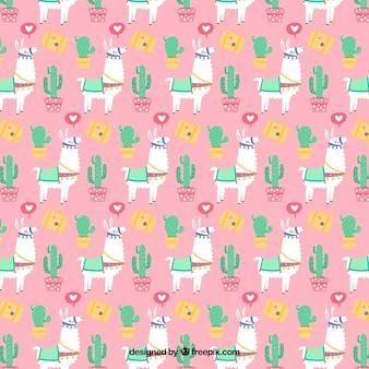 Padrão de caracteres de alpaca com design plano