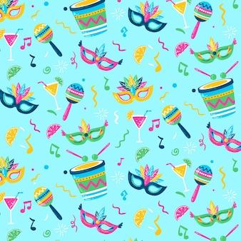 Padrão de carnaval brasileiro colorido criativo