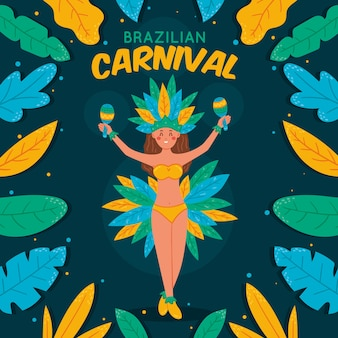 Padrão de carnaval brasileiro com dançarina