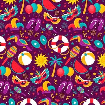 Padrão de carnaval brasileiro de design plano colorido