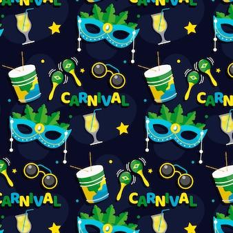 Padrão de carnaval brasileiro de design plano