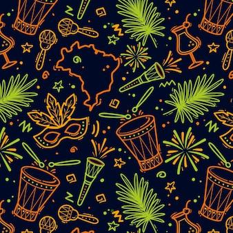 Padrão de carnaval brasileiro desenhado à mão