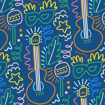 Padrão de carnaval brasileiro desenhados à mão