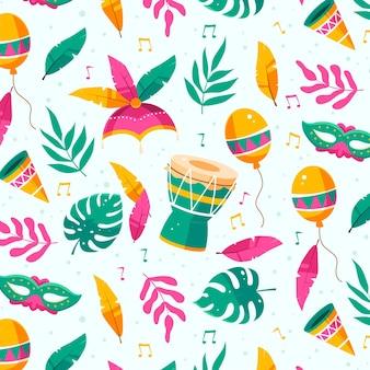 Padrão de carnaval brasileiro em design plano