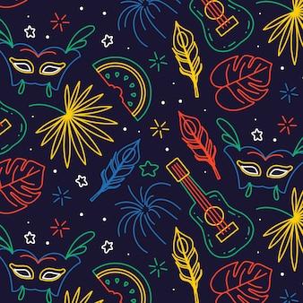 Padrão de carnaval brasileiro na mão desenhada