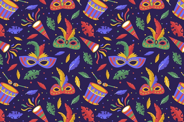 Padrão de carnaval colorido desenhado à mão