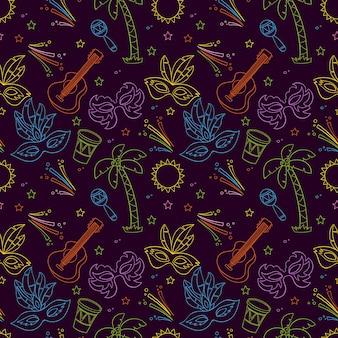 Padrão de carnaval colorido desenhado de mão