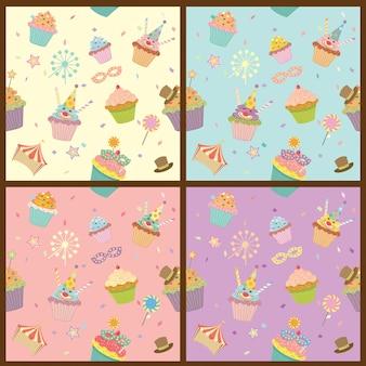 Padrão de carnaval de cupcakes