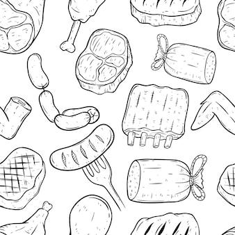 Padrão de carne com arte doodle ou estilo de desenho a mão