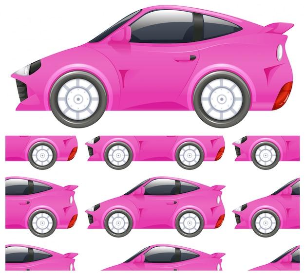 Padrão de carro rosa sem costura isolado no branco