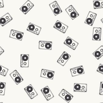 Padrão de cassete aleatório, ilustração musical. capa criativa e luxuosa