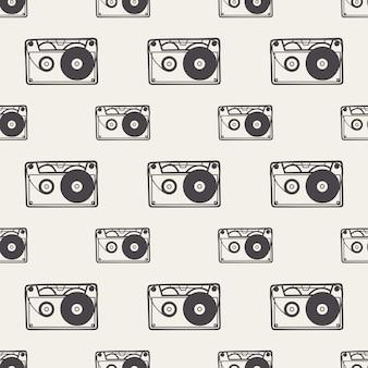 Padrão de cassete, ilustração de música. capa criativa e luxuosa