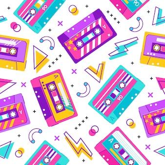 Padrão de cassete retrô. padrão de festa memphis vintage sem costura, fita cassete de música, fundo de fita cassete estéreo analógica. ilustração de cassete sem costura melodia analógica