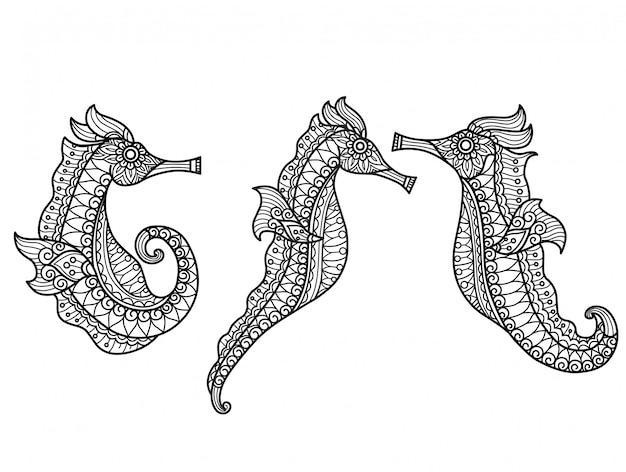Padrão de cavalos-marinhos. mão desenhada desenho ilustração para livro de colorir adulto