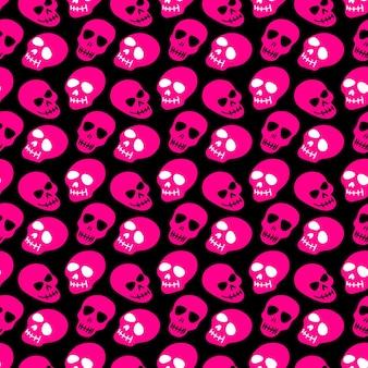 Padrão de caveira com caveiras rosa em um fundo preto