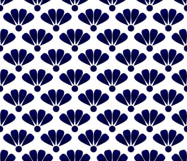 Padrão de cerâmica flor azul