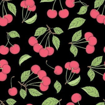 Padrão de cereja. de fundo vector sem costura com produtos coloridos naturais de frutas saudáveis. fruta saudável perfeita, ilustração de padrão orgânico de cereja de verão