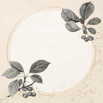 Padrão de cereja desenhada de mão com vetor de moldura dourada redonda