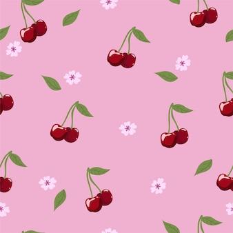 Padrão de cereja sem costura com frutas, flores e folhas.