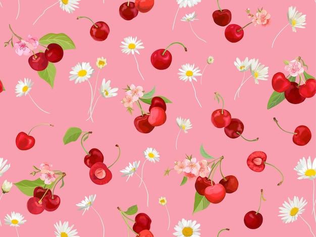 Padrão de cereja sem costura com fundo de bagas, frutos, folhas, flores de verão. ilustração vetorial em estilo aquarela para capa de primavera, textura de papel de parede, pano de fundo de embrulho, embalagem vintage